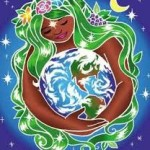 art woman wrapping arms around earth
